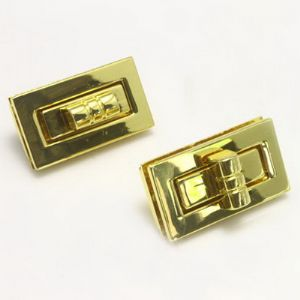 Locks for bag making, Metal alloy of copper, iron, tin, Gold colour, 1 piece, 4cm x 2.3cm x 0.5cm, 3.8cm x 1.9cm, (PJK040)